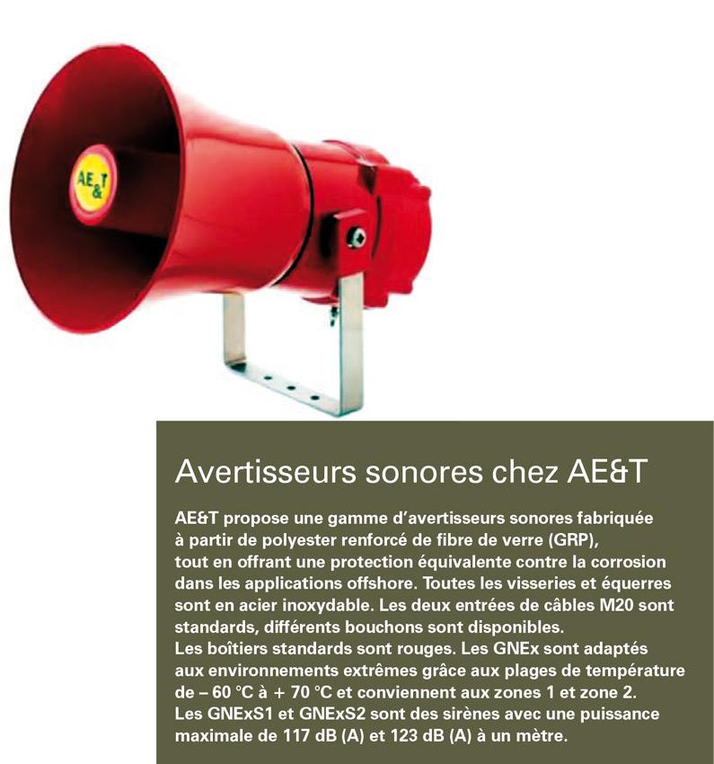 Avertisseurs sonores ATEX chez ae&t : vaste gamme d'avertisseurs fabriqués à partir de GRP